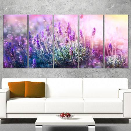 Designart Growing And Blooming Lavender Floral Canvas Art Print 5 Panels, One Size , Purple