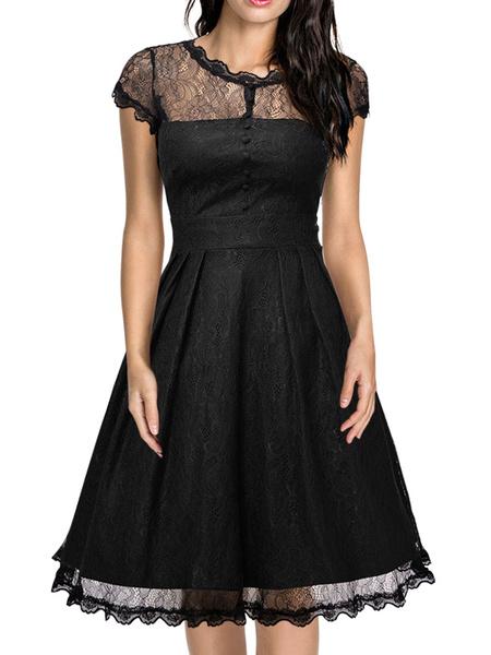 Milanoo Encaje Vintage vestido gorra negra manga corta semi pura colmena una linea acampanada Vestido