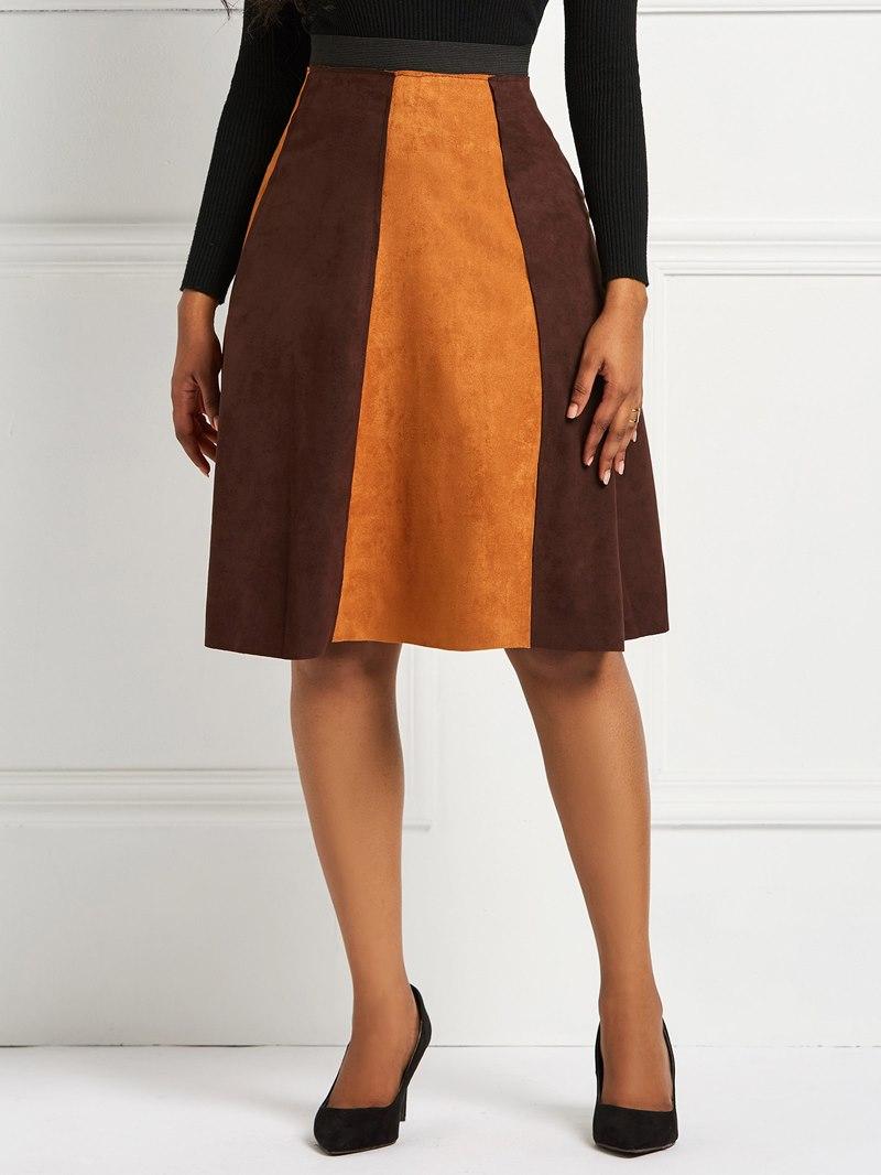 Ericdress Patchwork Color Block A-Line Women's Skirt