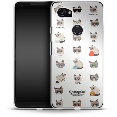 Google Pixel 2 XL Silikon Handyhuelle - Grumpy Cat Pattern von Grumpy Cat