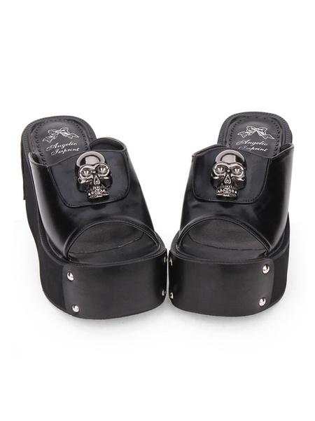 Milanoo Gothic Lolita Sandal Metallic Skull Rivet Platform Negro Lolita High Heel Slipper