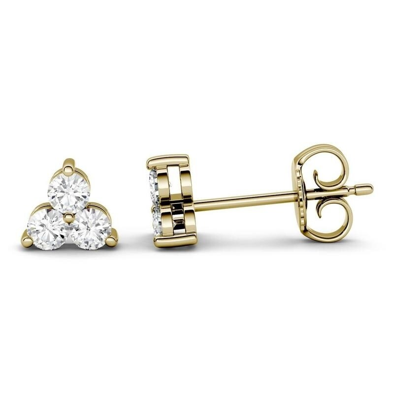 Moissanite by Charles & Colvard 14k Gold 0.36 DEW Three Stone Earrings (Yellow)