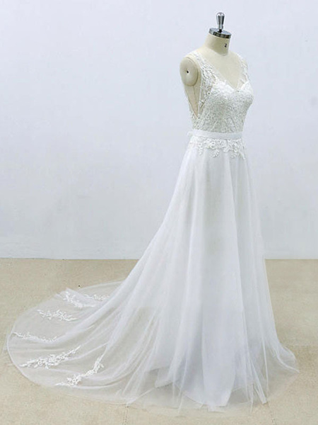Milanoo Simple Wedding Dress A Line V Neck Sleeveless Lace Bridal Dresses With Chapel Train