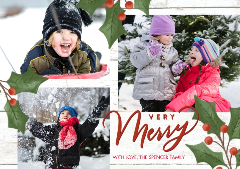 Christmas Photo Cards 5x7 Cards, Premium Cardstock 120lb with Rounded Corners, Card & Stationery -Christmas Holly by Tumbalina