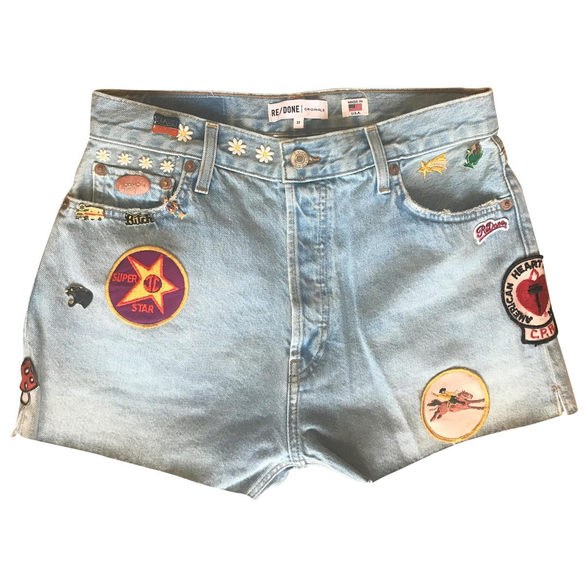 Re/done \N Blue Cotton Shorts for Women 27 US