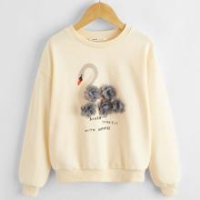 Girls 3D Applique Swan and Slogan Graphic Sweatshirt