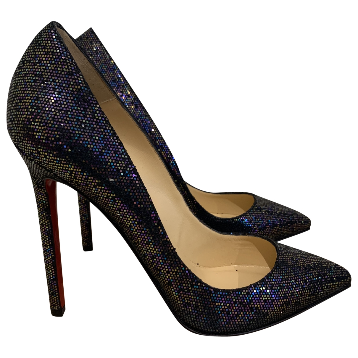 Christian Louboutin Pigalle Blue Glitter Heels for Women 37 EU