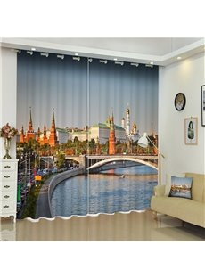 European City Scenery Bridge and River Printed Blackout Custom 3D Scenery Curtains