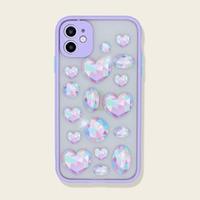 1pc Diamond Heart Print iPhone Case