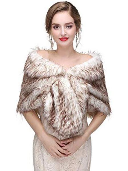 Milanoo Faux Fur Wrap Wedding Bridal Shawl Stole