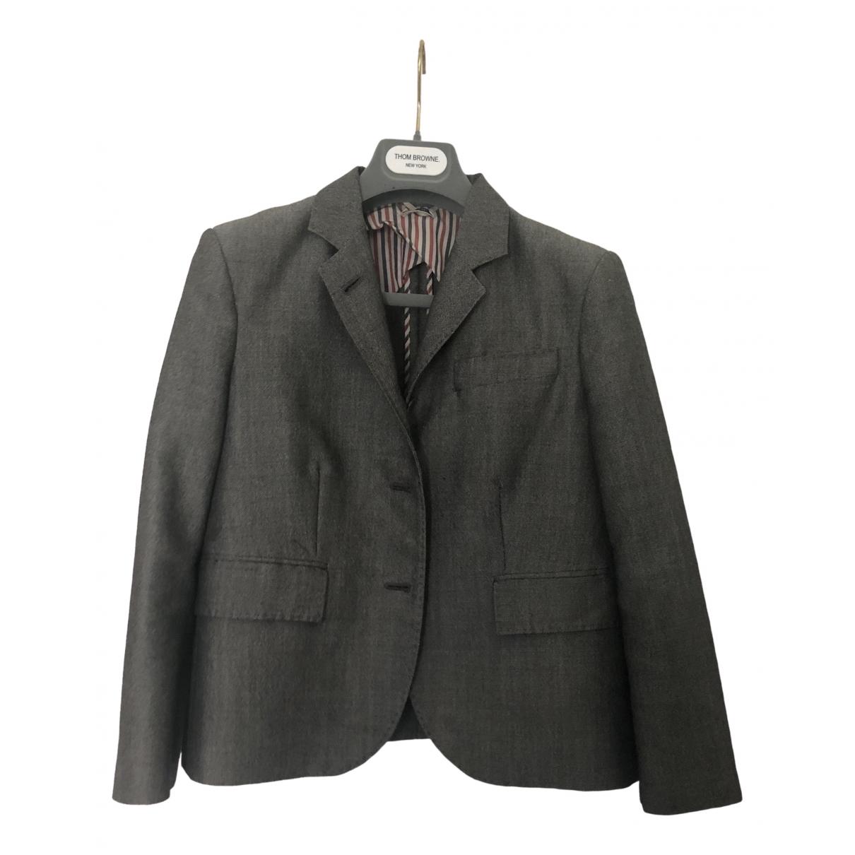 Thom Browne \N Jacke in  Grau Wolle