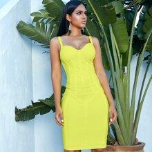 Adyce Neon Lime Midi Cami Bandage Kleid mit Reissverschluss hinten