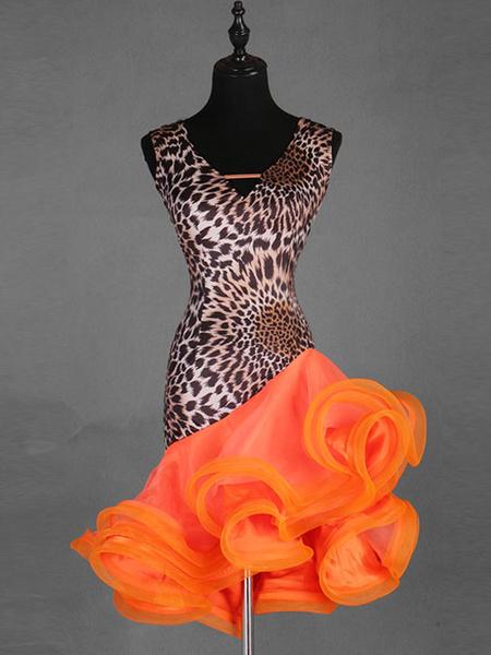 Milanoo Dance Costumes Latin Dancer Dresses Orange Women Leopard Print Ruffle Skirt Dancing Wears Halloween