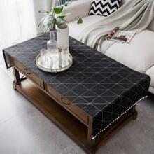 Geometric Pattern Pom-pom Trim Tablecloth
