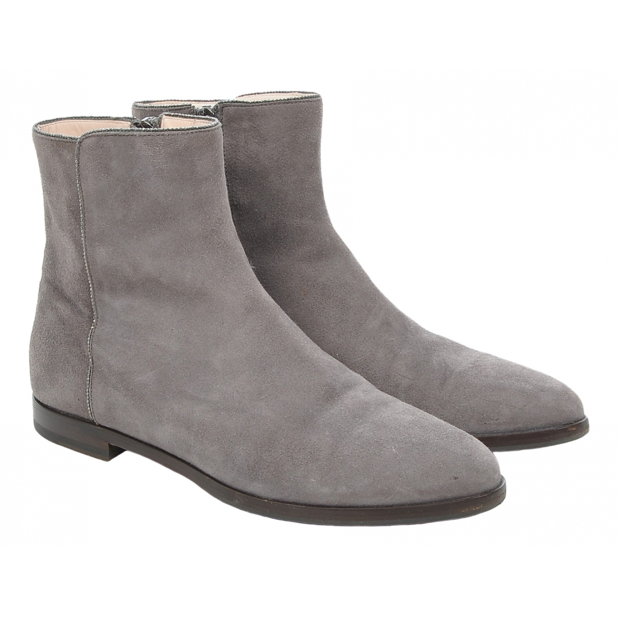 Fabiana Filippi \N Grey Suede Ankle boots for Women 37 EU