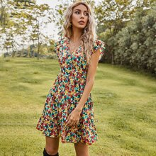 Rueckenfreies A-Linie Kleid mit Blumen Muster und Rueschen
