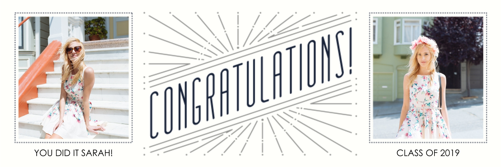 Congratulations 1x3 Adhesive Banner, Home Décor -Art Deco Congratulations