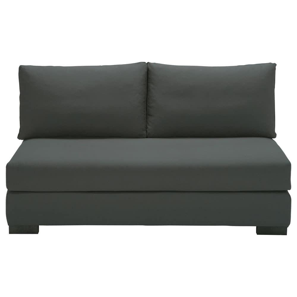 Modulare 2-Sitzer Polsterbank aus Baumwolle, schiefergrau Terence