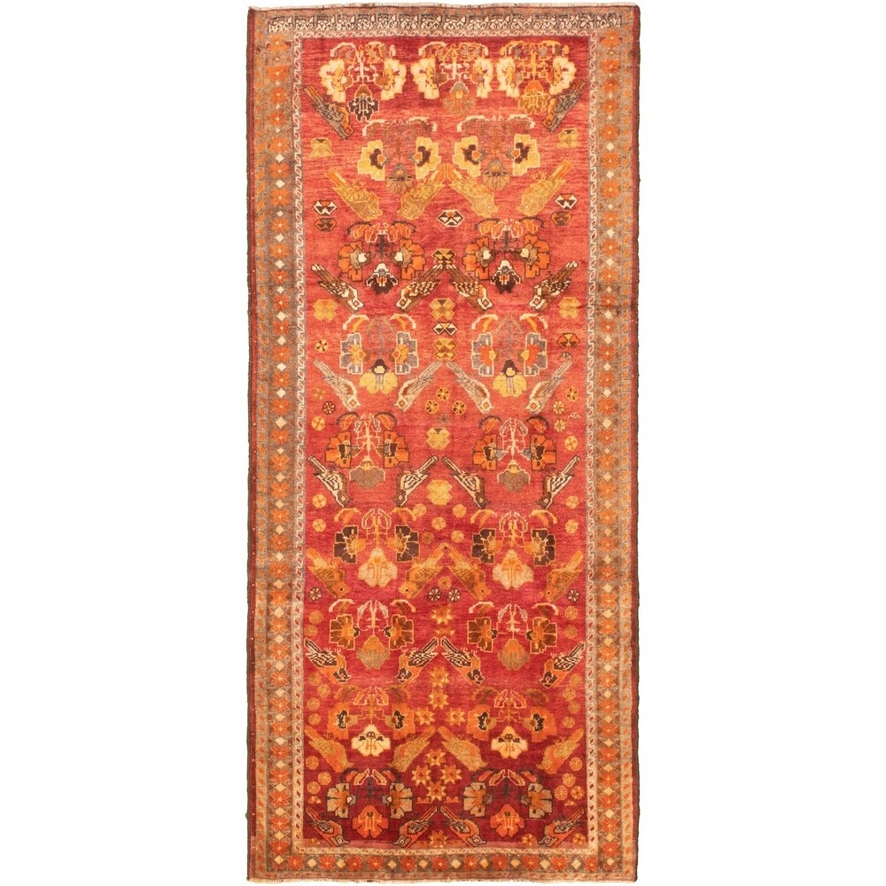 Hand-knotted Melis Vintage Red Wool Rug - 4'3 x 10'1 (Red - 4'3 x 10'1)
