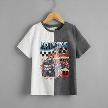 Boys Graphic Print Colorblock Tee