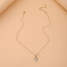 Faux Pearl & Rhinestone Detail Necklace