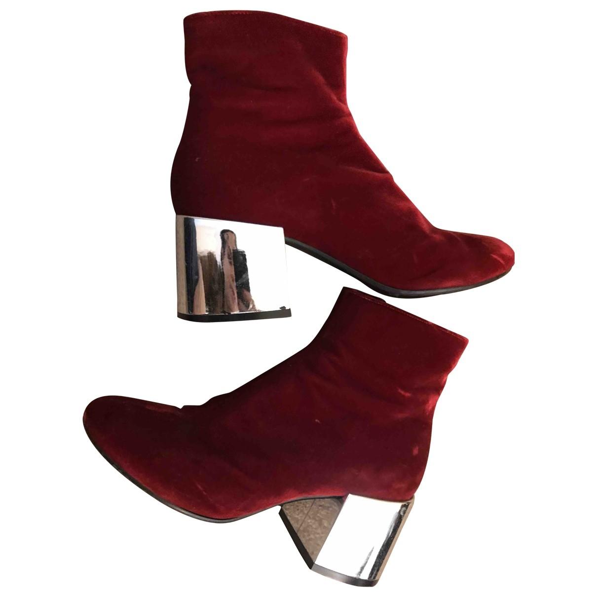 Mm6 - Boots   pour femme en velours - rouge