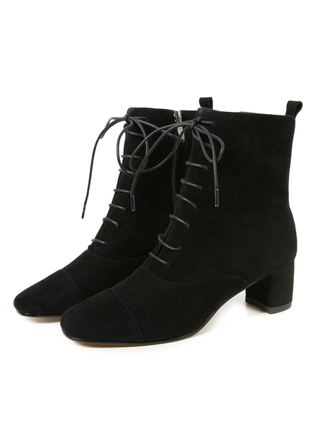 Milanoo Women Lace Up Ankle Boots Black Suede Leather Square Toe Chunky Heel 2 Booties
