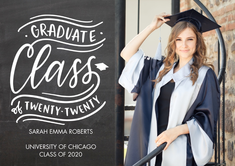2020 Graduation Announcements 5x7 Cards, Premium Cardstock 120lb with Elegant Corners, Card & Stationery -Graduate 2020 Class by Tumbalina
