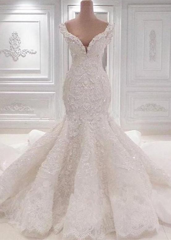 Lujoso vestido de novia de sirena fuera del hombro   Apliques de encaje 2021Vestidos de novia BC0221