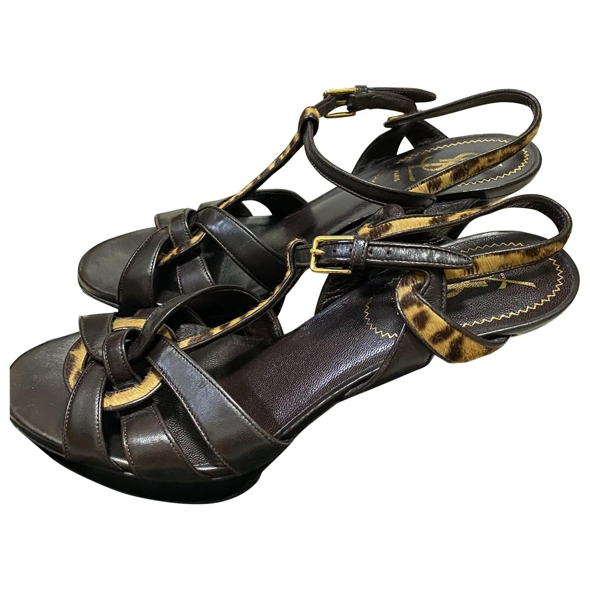 Yves Saint Laurent \N Brown Leather Sandals for Women 39 EU