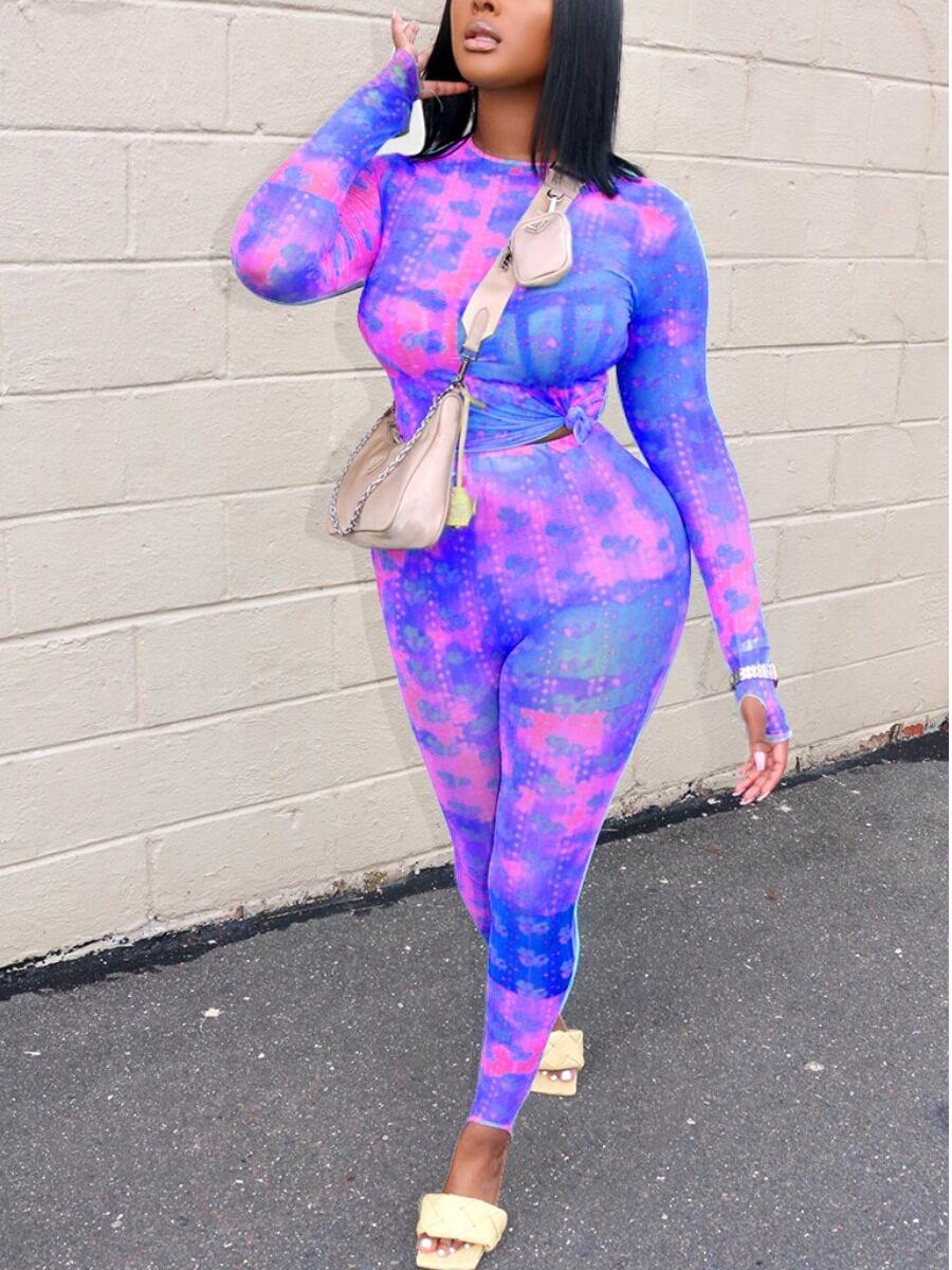 LW Lovely Casual O Neck Tie-Dye Print Purple Two Piece Pants Set
