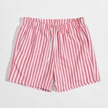 Pink Taschen  Gestreift Urlaub Maenner Shorts