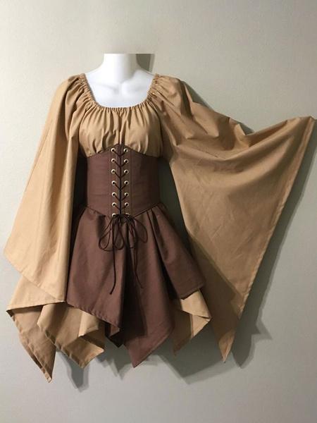 Milanoo Medieval Vintage Dress Brown Layered Long SleevesHalter Swing Dress Prom Dress
