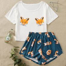 Cartoon Graphic Tee & Shorts PJ Set