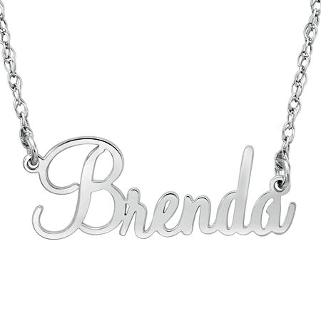 Personalized Womens 10K White Gold Pendant Necklace, One Size , No Color Family