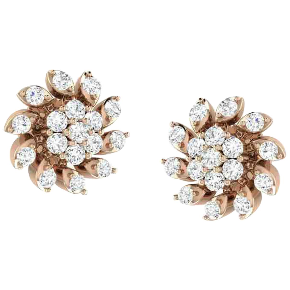 - Boucles doreilles Motifs Floraux pour femme en or rose