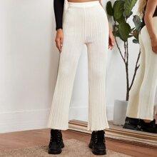 Pantalones de Punto Liso Casual