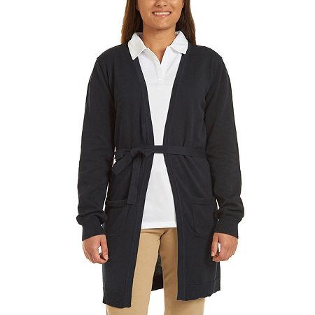 IZOD Womens Long Sleeve Cardigan-Juniors, Large , Blue