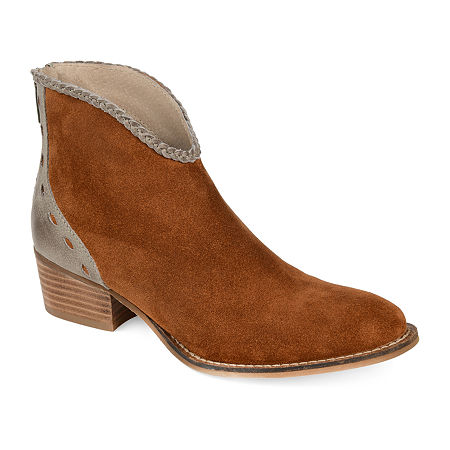 Journee Signature Womens Gracie Booties Stacked Heel, 6 1/2 Medium, Brown