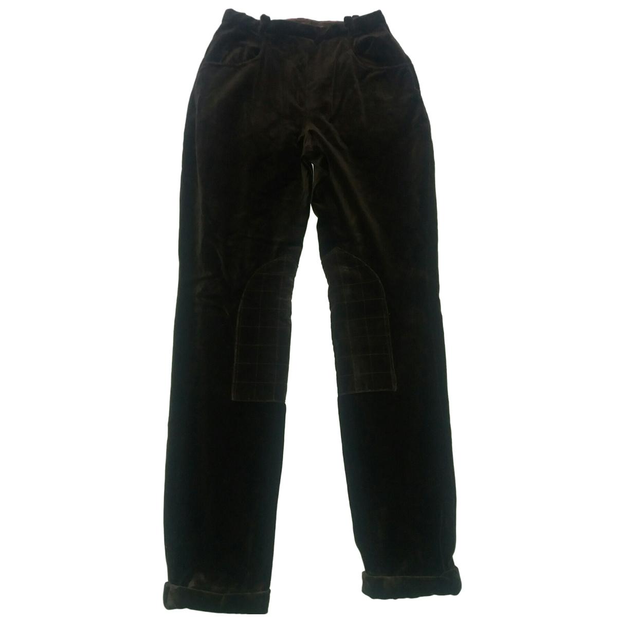 Etro \N Brown Velvet Trousers for Women 40 IT