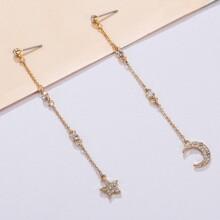 1pair Rhinestone Decor Moon & Star Charm Drop Earrings