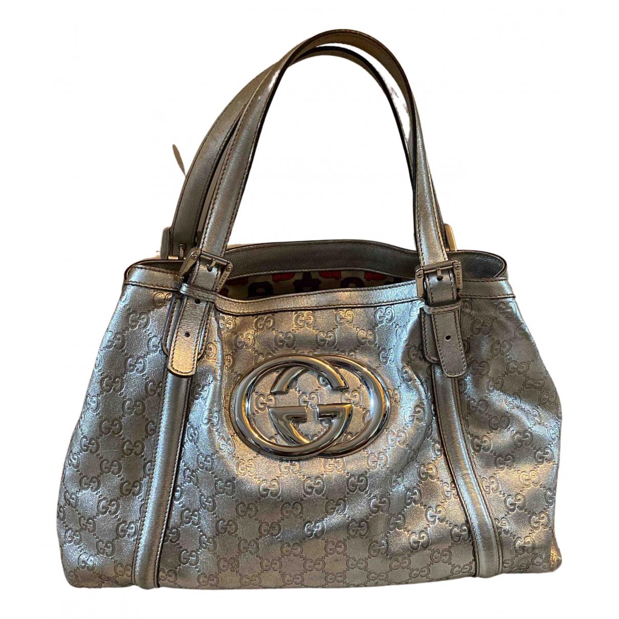 Gucci Interlocking Silver Leather handbag for Women N