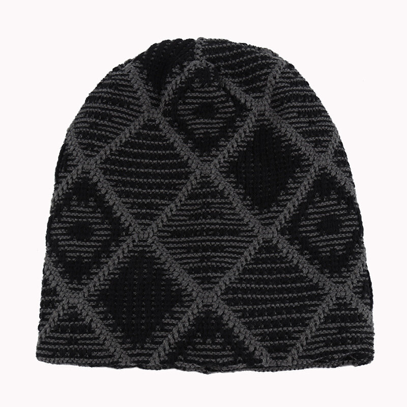 Mens Knitted Wool Winter Lattice Beanie Cap Outdoor Skateboard Skiing Warm Hat
