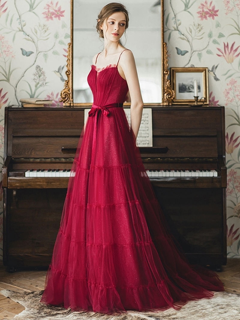 Ericdress A-Line Pick-Ups Spaghetti Straps Floor-Length Prom Dress