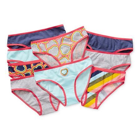 Arizona Little & Big Girls 9 Pack Bikini Panty, 10 , Blue