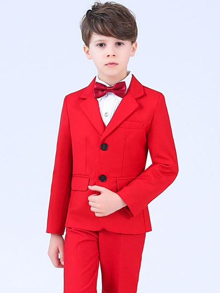 Milanoo Red Ring Bearer Outfit Wedding Boys Suits Tuxedo Kids Formal Wear 5 Piece