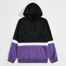 Men Contrast Panel Drawstring Hoodie