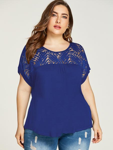 YOINS Plus Size Blue Lace Design Round Neck Short Blouse