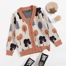Toddler Girls Plants Pattern Button Up Cardigan