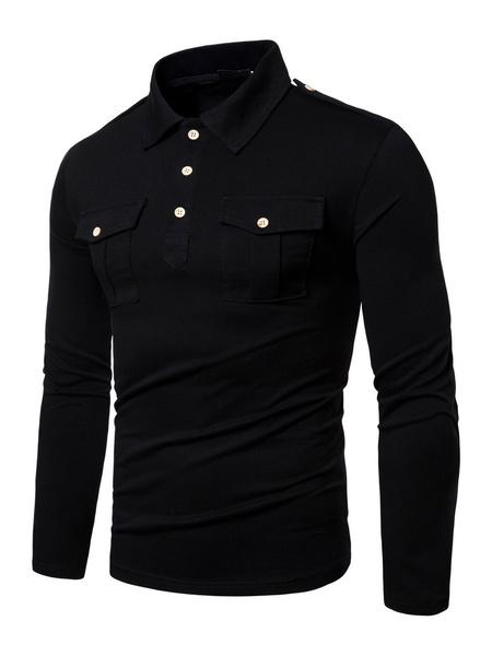 Milanoo Polo Shirt For Men Black Turndown Collar Long Sleeves Buttons Slim Fit Casual T Shirt